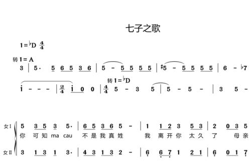 七子之歌 上海小荧星合唱团  另售合唱谱简谱钢琴伴奏