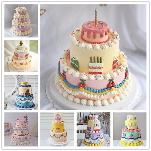 2021ins风复古奶油裱花三层仿真网红生日蛋糕模型甜品
