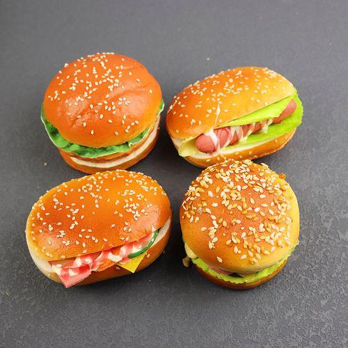 仿真汉堡面包摆件橱柜道具热狗牛肉汉堡面包房装饰道具假糕点点心