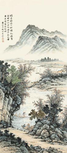 袁松年风景湖边30x68厘米中国画名画复制品微喷画心山水画