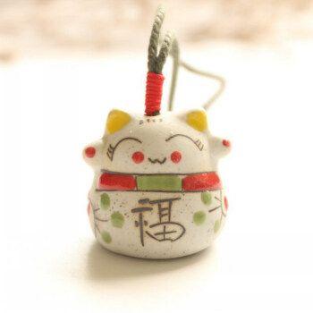 陶瓷风铃 陶瓷挂件 手工饰品 包包挂件 招财猫铜铃铛