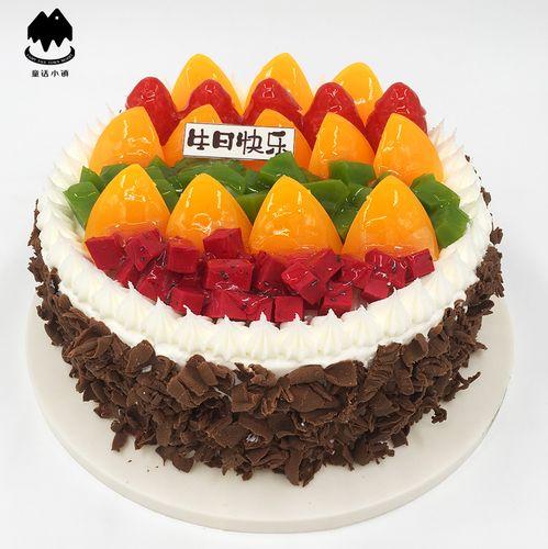 黑色巧克力碎欧式水果 蛋糕模型仿真2019新款 生日假蛋糕样品t843