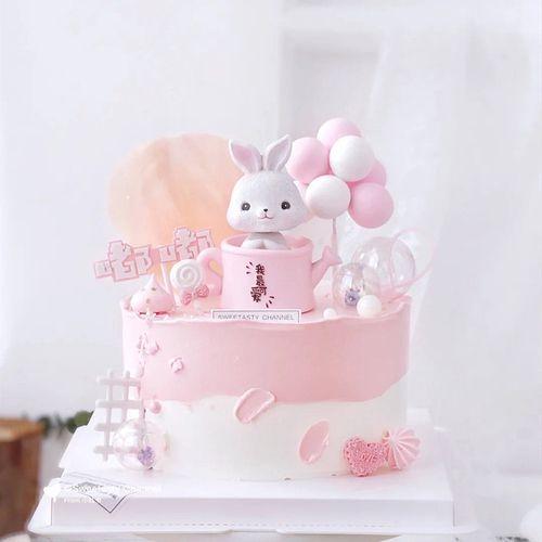 创意茶杯兔蛋糕摆件马卡龙浪漫告白气球儿童生日装饰