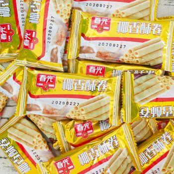 夹心椰子酥饼干休闲美味零食下午茶 椰香酥卷500g散装【约40小包】