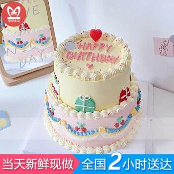 网红复古双层手绘生日蛋糕同城配送全国订做送老公老婆情侣儿童闺蜜