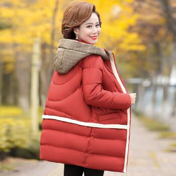 棉服2020新款秋冬装40岁50中年大码宽松加厚保暖棉袄外套女 铁锈红