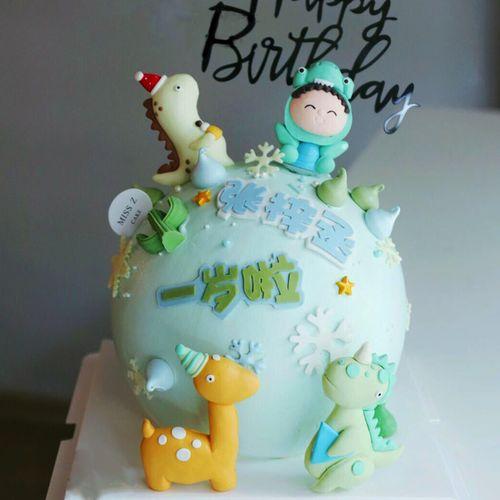 宝宝一周岁男孩生日蛋糕甜品台烘焙插件森林动物摆件