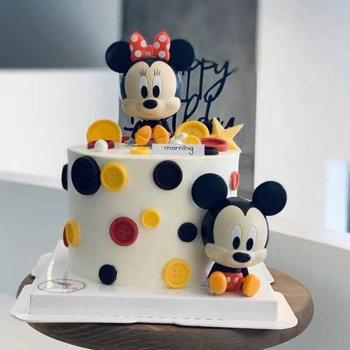 扭蛋米奇蛋糕装饰公仔 娃娃生日快乐蛋糕摆件 冰激凌