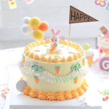网红小兔子生日蛋糕同城小白兔胡萝卜生肖兔蛋糕儿童卡通全国上海
