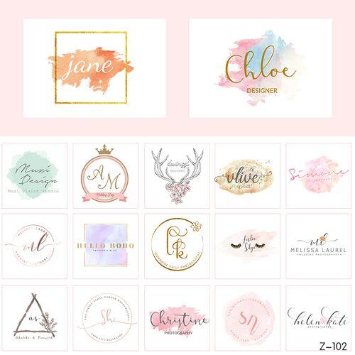 时尚极简水彩品牌字母logo标志头设计店标水印蛋糕
