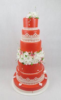 2018新款多层婚庆仿真翻糖蛋糕 六层高端红婚庆庆典