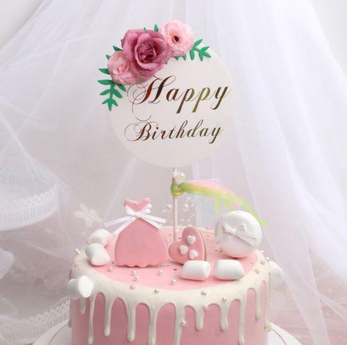 唯美花朵生日蛋糕插旗 生日蛋糕装饰 生日派对用品 蛋糕插牌