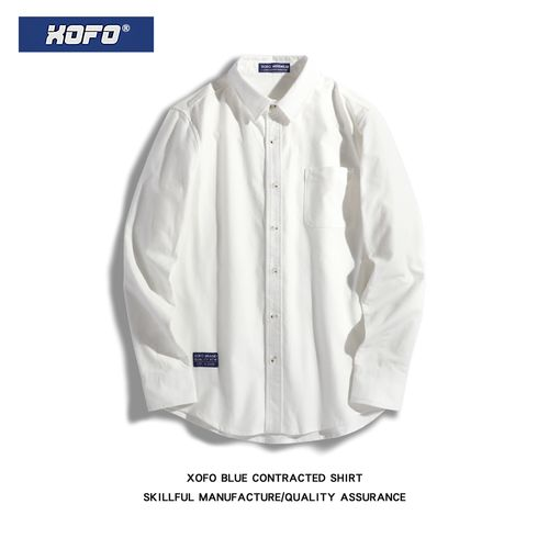 xofo春季复古港风日系白色衬衫男休闲宽松长袖衬衣