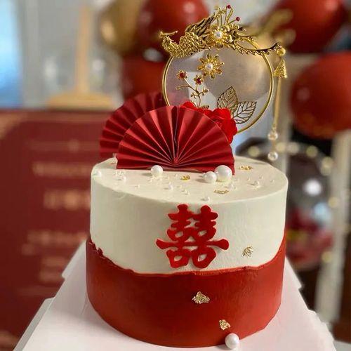 订婚结婚蛋糕装饰插件凤凰于飞中国风婚礼玫瑰花烘焙
