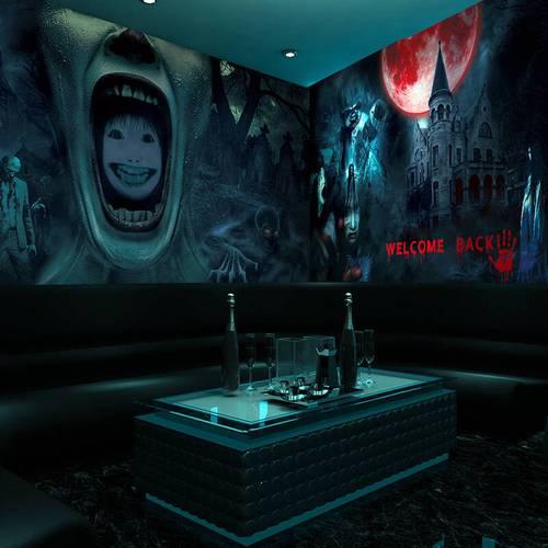 恐怖剧本店壁纸鬼屋密室壁画桌游酒吧酒店主题房间