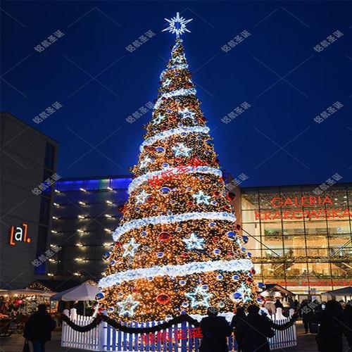 高档场景酒店大型框架圣诞树4/6/8/10/12/15米户外室外灯光树商场