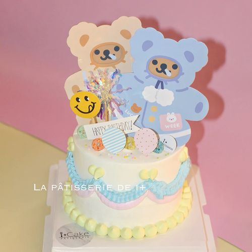 网红ins风小熊蛋糕摆韩国贺卡小熊头生日帽子派对可爱
