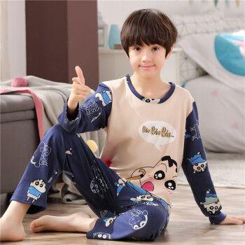 小孩男孩学生纯棉全棉儿童睡衣宝宝长袖套装小童居家服 lml148小新