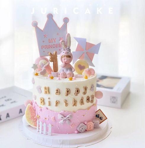 网红蛋糕星黛露蛋糕装饰摆件宝宝兔闺蜜兔粉色小兔子