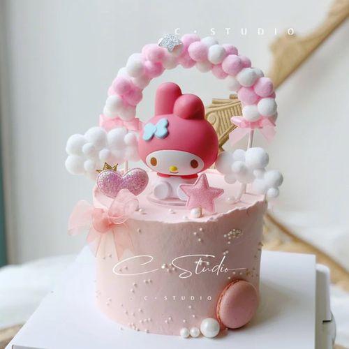 美乐蒂蛋糕装饰女孩蛋糕kt凯蒂猫摆件 儿童宝宝周岁