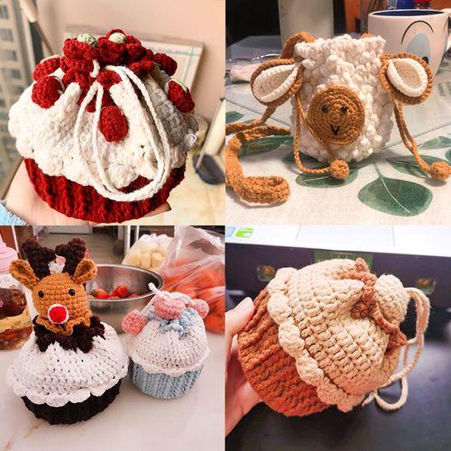 圣诞树蛋糕包针织编织diy材料钩针草莓纸杯包包手工