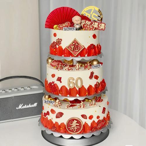 仿真生日蛋糕模型2021新款网红三层多层60大寿祝寿塑胶假蛋糕样品