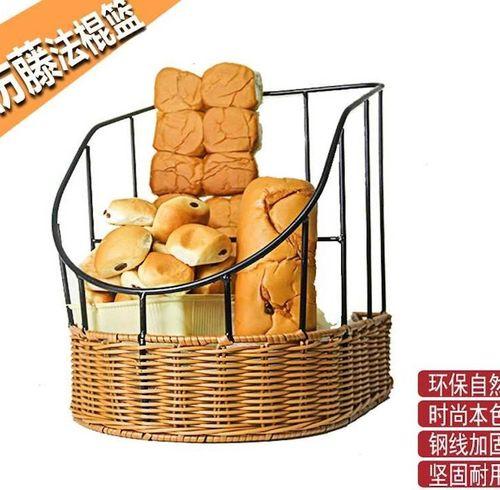 仿藤篮法式镂空面包篮创意法棍筐面包篮子藤编圆形梯形篮收纳托盘