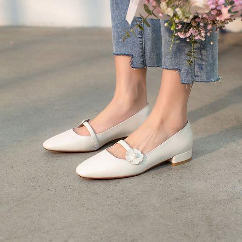 鞋子女单鞋春季新款圆头一字带玛丽珍鞋浅口单鞋全真皮平底单鞋女