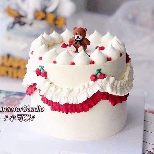 ins卡通可爱蝴蝶结小熊生日蜡烛儿童宝宝派对38女神节蛋糕装饰l