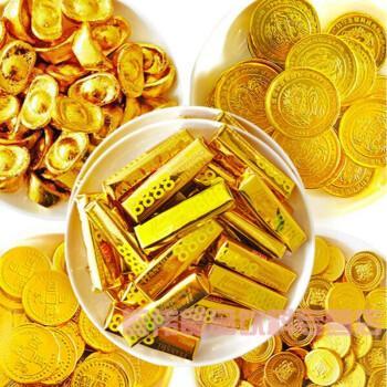 金币元宝巧克力金条花生钱币硬币金块儿童散装零食蛋糕装饰 九种500g
