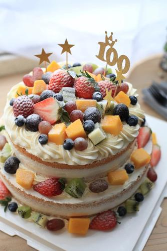 【0042】小双层缤纷裸蛋糕(满满水果,鲜果诱惑!)-请务必提前1天预定