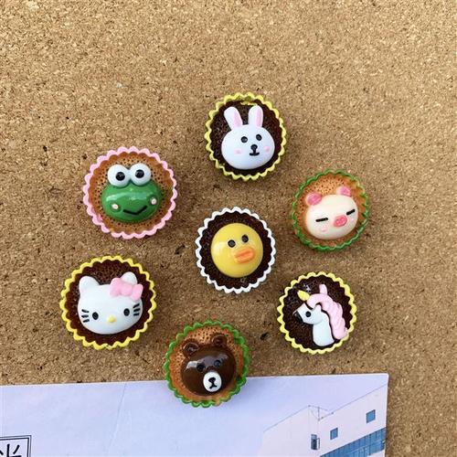 7个套 杯子蛋糕造型 可爱动物图钉 毛毡软木板墙面