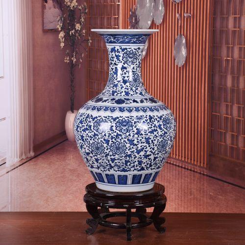 景德镇陶瓷大号青花瓷落地花瓶新中式家居客厅玄关装饰工艺品摆件