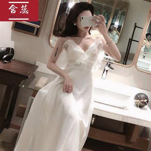 法国小众很仙的连衣裙2021夏季新款港味沙滩裙长裙小礼服裙子女潮w
