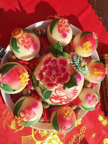 胶东面塑花饽饽结婚喜馍生日蛋糕寿桃老面馒头手工定做民俗面艺