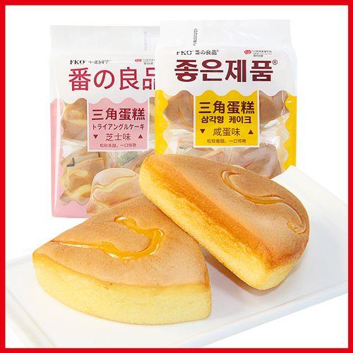 fko咸蛋味三角蛋糕芝士营养早餐糕点心手撕口袋面包零食260克*2包