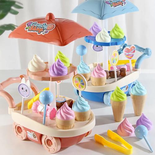冰激凌玩具儿童过家家女孩宝宝三岁冰淇淋推车雪糕车玩具套装早教
