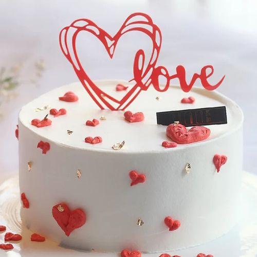 520节ins甜蜜爱心亚克力生日蛋糕装饰插牌婚礼