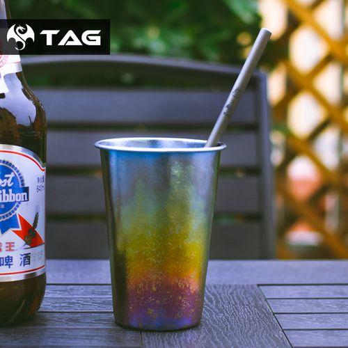 猫虎兽户外便携纯钛啤酒杯家用果汁口杯手作纹冰花钛