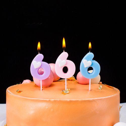 儿童礼物数字派对用品创意爱心心形浪漫蜡烛生日蛋糕