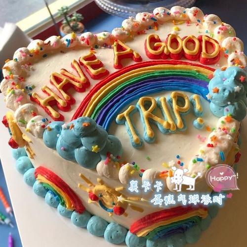 网红韩国创意手绘复古撞色多彩可爱动物奶油生日蛋糕