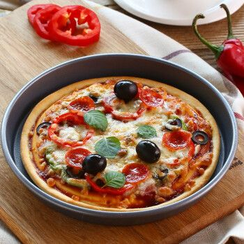展艺 披萨盘 pizza饼底盘 家用烤盘 不粘涂层烘焙工具