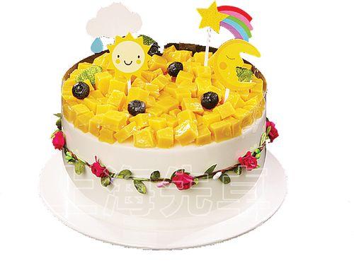 【正品】上海先卓仿真模具花环芒果新品简约大方塑胶生日蛋糕模型