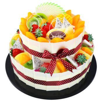 双层生日蛋糕水果祝寿蛋糕同城配送当日送达上海西安哈尔滨长春