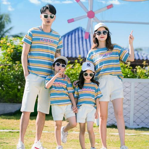 法式亲子装夏装一家三口四口洋气母子母女装条纹t恤