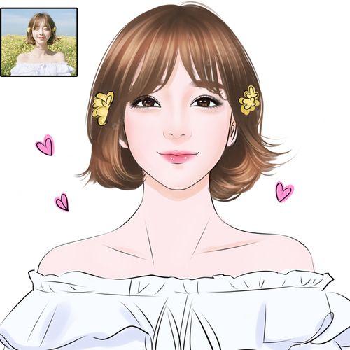 写实q版卡通漫画人物头像设计照片转手绘情侣真人结婚