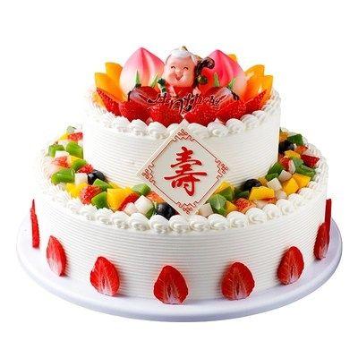 双层蛋糕模型摆设祝寿寿桃老人新款样品橱窗创意水果