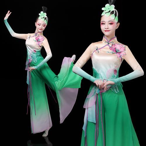 古典舞演出服女飘逸荷花秧歌舞蹈服装中国风扇子舞民族伞舞表演服