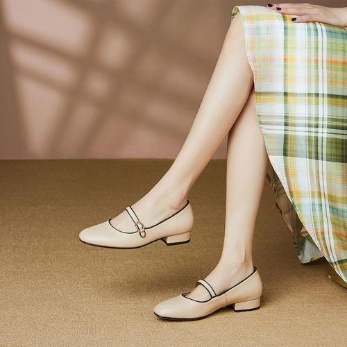 盗梦空间轻奢真皮粗跟新款浅口单鞋女玛丽珍鞋女晚晚