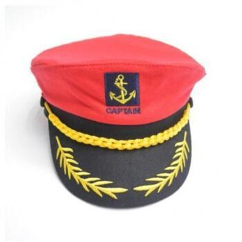 圆顶帽圆顶帽防晒帽表演帽子儿童水手帽水兵舞帽红黑白色经典船长平顶